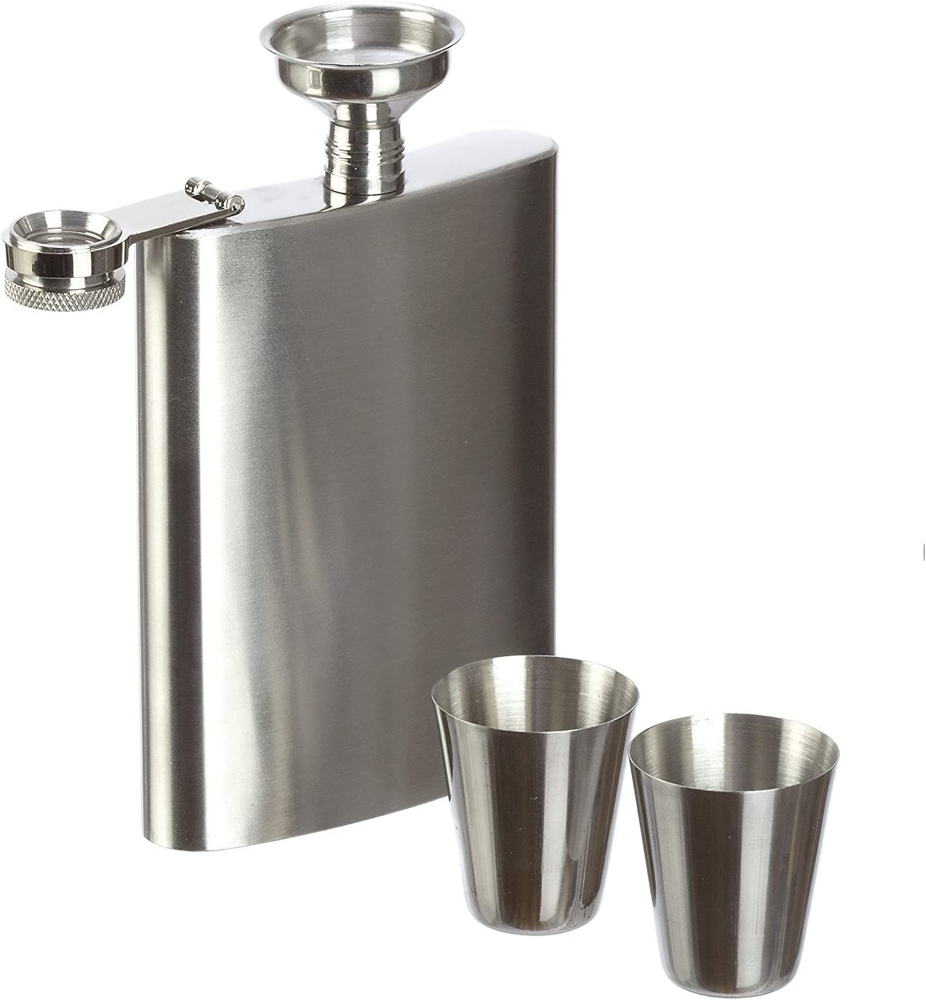 Flask Gift Set HEMFV 9 oz Hip Flask and Funnel Stainless Steel Classic Silver