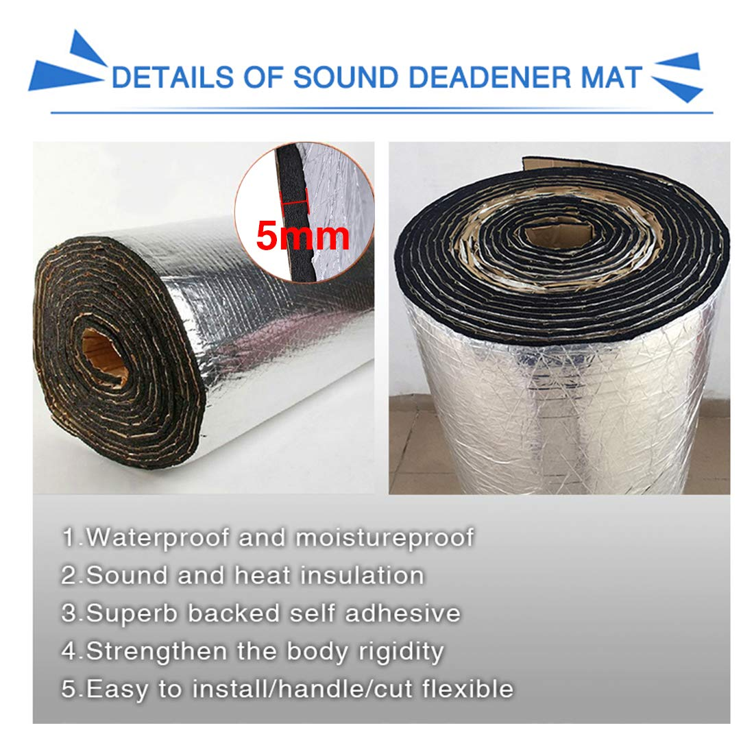 uxcell 197mil 5mm 53.35sqft Heat Sound Deadener Insulation Mat for Car 197 inches x 39 inches