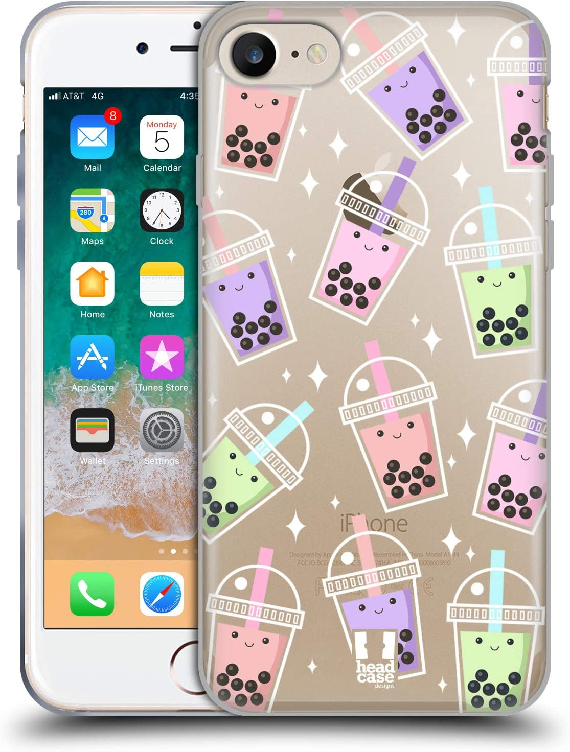 Head Case Designs Pattern Bubble Tea Soft Gel Case and Matching Wallpaper Compatible with Apple iPhone 7 / iPhone 8 / iPhone SE 2020