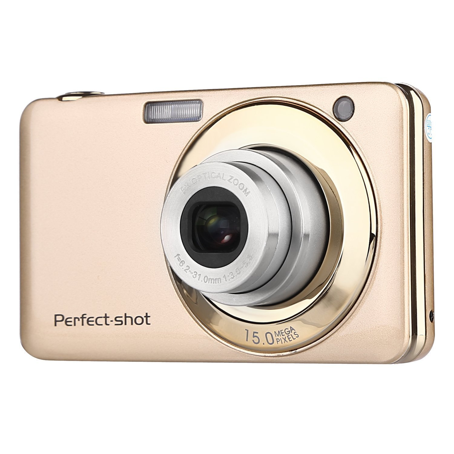 GordVESJB008 2.7 Inch TFT 5X Optical Zoom 15MP 1280x720 HD Anti-shake Smile Capture Digital Video Camera--Gold