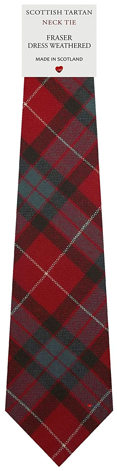 Mens Tie All Wool Made in Scotland Fraser Dress Weathered Tartan