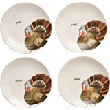 "Rae Dunn Magenta Ceramic Thanksgiving Gobble, Grateful, Thankful, Blessed Appetizer Dessert Circle Small 8"" Plate Eat…"