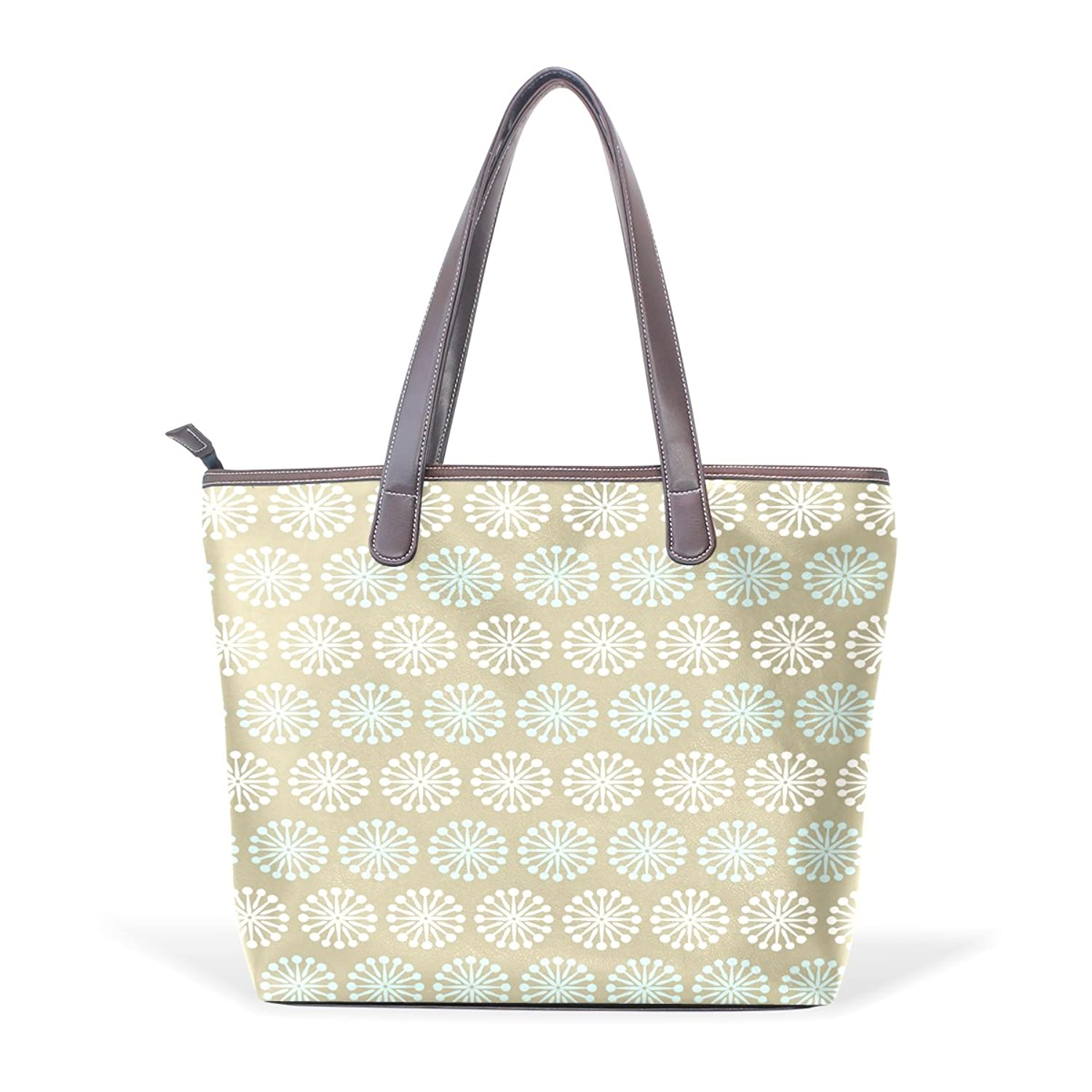 BYouLockX Blue And White Pattern With Brown Pattern Leather Handbags Satchel ShoulderBag for Women