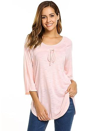 ed2fcdf2aca Zeagoo Women s Mesh Sheer See Through 3 4 Sleeve Flowy Shirts Tops (Pink S