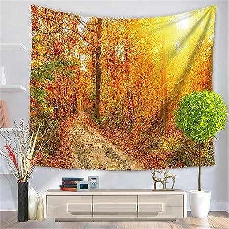 Arazzo da parete tappezzeria foglie di foresta giallo oro con 3D stampa in alta definizione tappeto da parete per Camera decorativo da per soggiorno camera da letto telo da spiaggia GT3614-130x150cm