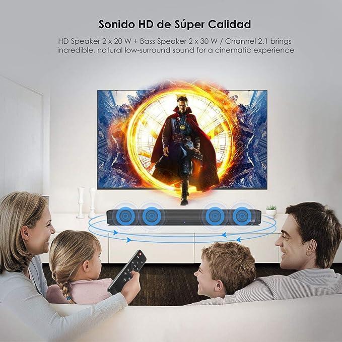 Barra de Sonido, Wellwerks 95W Altavoz de Audio para TV Bluetooth V4.2 [Conexiones Alámbrico/Inalámbrico] Bluetooth Sound-Bar Subwoofer para ...