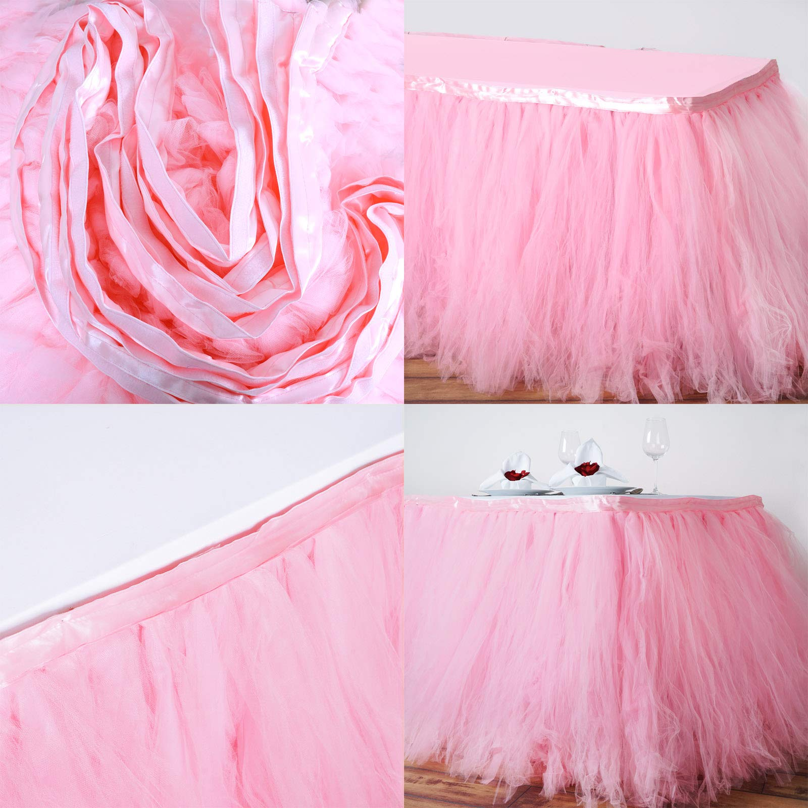 Tableclothsfactory 21ft FULL SIZE 8 Layer Fluffy Tulle - Tutu Table Skirt - Rose Quartz Pink by Tableclothsfactory (Image #3)