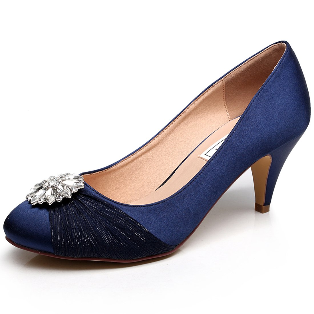 LUXVEER Satin Women Shoes Wedding Shoes with Rhinestone Bridal Shoes Low Heel Closed Toe Lace Wedding Shoes - Heels 2 inch-RS-9810-Dark Blue-EU38 Wedding Shoes
