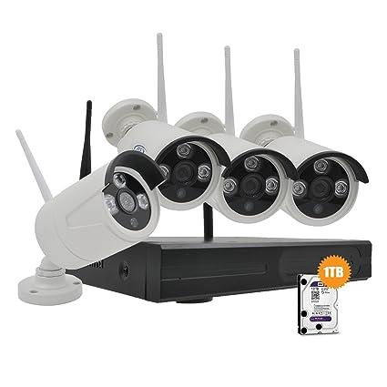 Plv Kit de sistema de vigilancia con 4 Cámaras IP IR 1080p WIFI Largo alcance interior