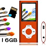Tomameri - MP3 / MP4 Player with Rhombic Button, Portable Music and Video Player, Including a 16 GB Micro SD Card and Maximum support 32GB, Supporting Photo Viewer, Video and Voice Recorder - Orange