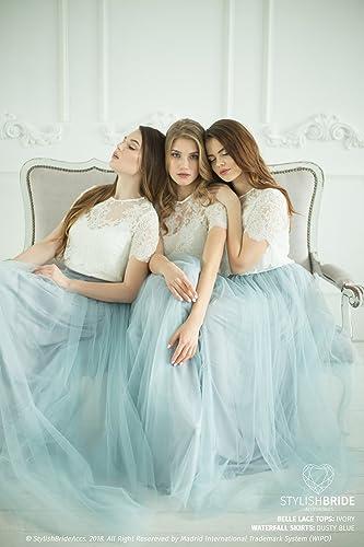 6af21377bc4f Amazon.com  Belle Dusty Blue Palette Bridesmaids Lace Dress
