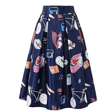 LOKOUO Cartoon Print Skirt Elastic High Waist Knee-Length Skirts Blue One  Size 2d2ecda81189
