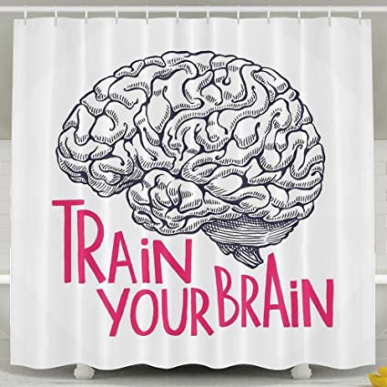 HUANGLING Positive Quote On Curvy Human Brain Intelligence Head Skull Humor  Modern Shower Curtain 60x72inch