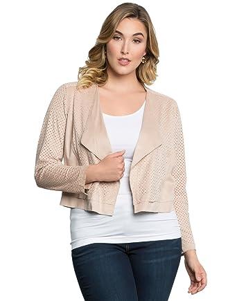 4b35d7c31ba Amazon.com  Kiyonna Women s Plus Size Drew Jacket by Lyssé 1X Blush   Clothing