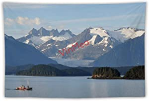 yyone Tapestry Hanging Wall Decor, Leaving Juneau Alaska Glacier Mountains Tapestry Wall Hanging Tapestry Blanket Decorate for Home Bedroom Living Room Table (59x79 inches)