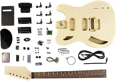 DIY Kit de guitarra eléctrica de cuerpo semi hueco con chapa de ...