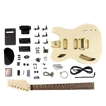 DIY Kit de guitarra eléctrica de cuerpo semi hueco con chapa de madera de arce flameado: Amazon.es: Instrumentos musicales