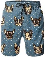 French Bulldogs Blue Men's Beach Shorts
