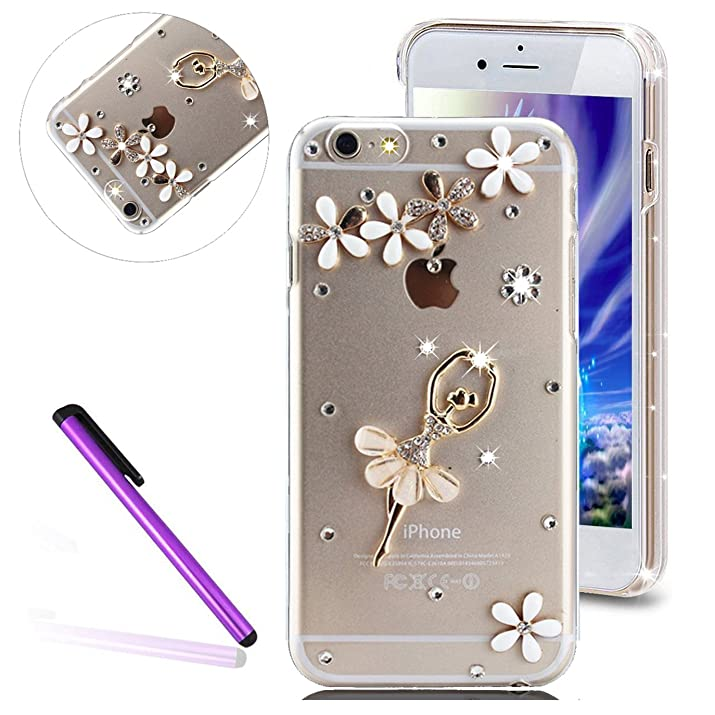 "6S Plus Case iPhone 6S Plus Case EMAXELER Bling Swarovski Crystal Rhinestone Diamond Clear Slim Premium Hard PC Case for iPhone 6/6S Plus 5.5"" Dance Girl"