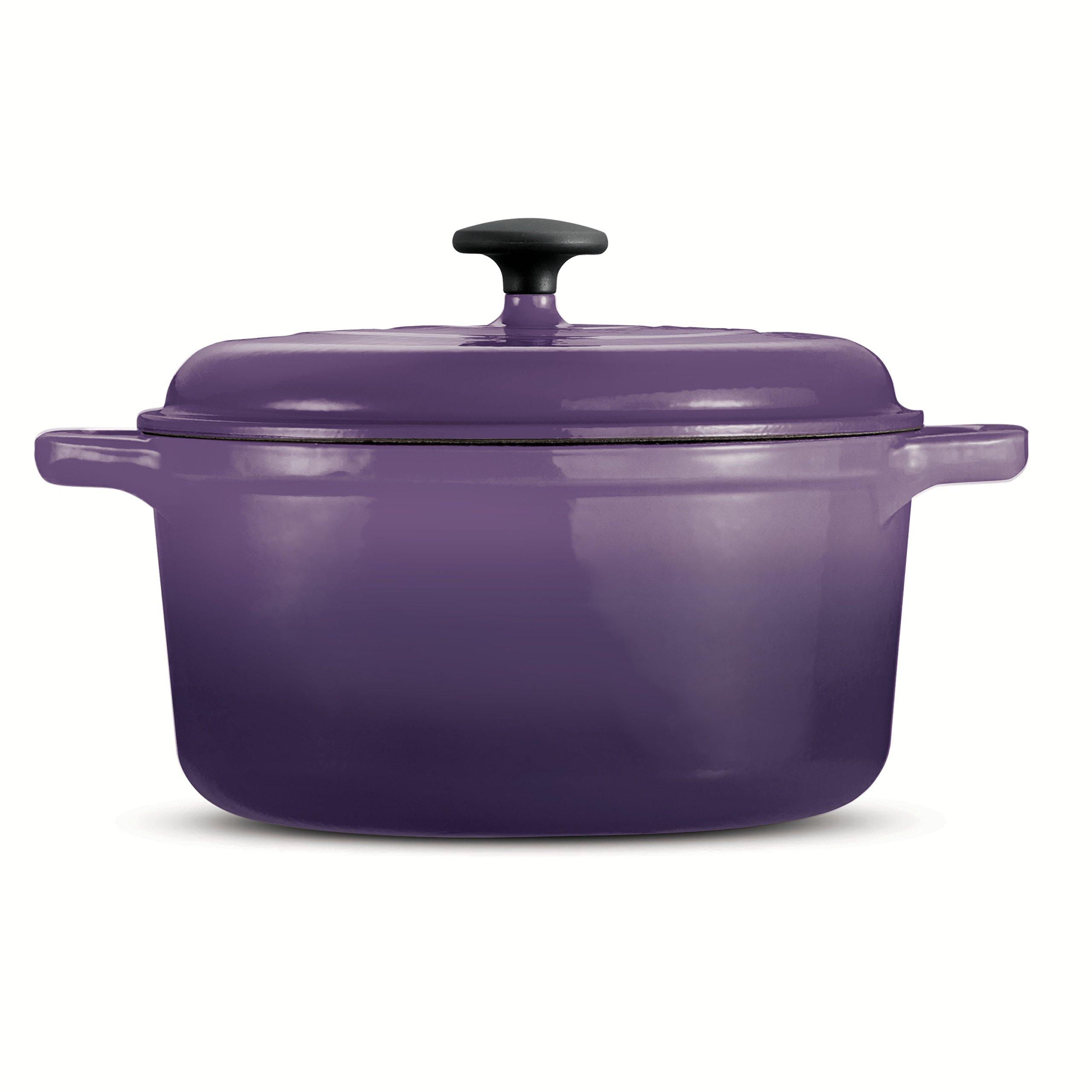 Tramontina 80131/633DS Style Porcelain Enamel Cast Iron Dutch Oven, 6.5 Quart, Purple