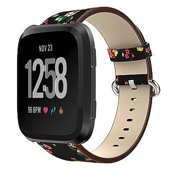 GOSETH® - Correa de repuesto para reloj de pulsera Fitbit Versa, correa de piel clásica para mujeres y hombres, para Fitbit Versa Fitness Smart Watch: ...
