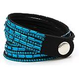 Yoshine Fashion Leather Rhinestone Multilayer Bracelet Bangle,novelty Wrap Bracelets, Punk Folk Style Retro Bracelets,wide Leather Casual Adjustable Bracelet