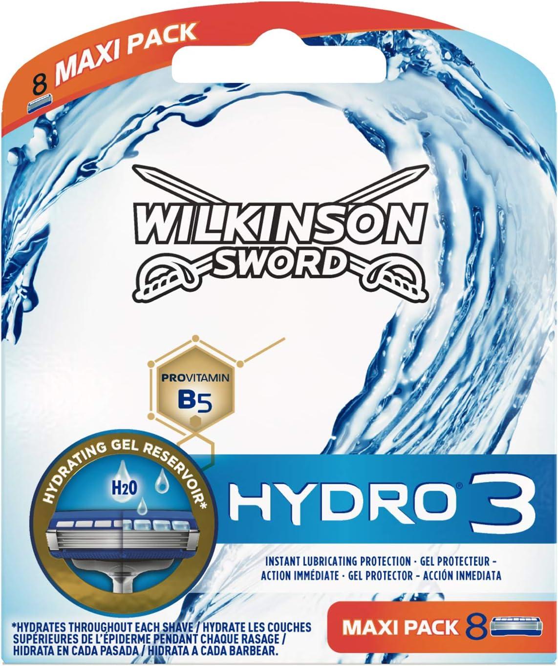 Wilkinson Sword Hydro 3 - Cargador de 8 cuchillas de afeitar masculinas de tres hojas Hydro 3 con dosificador de gel para una maxima hidratacion