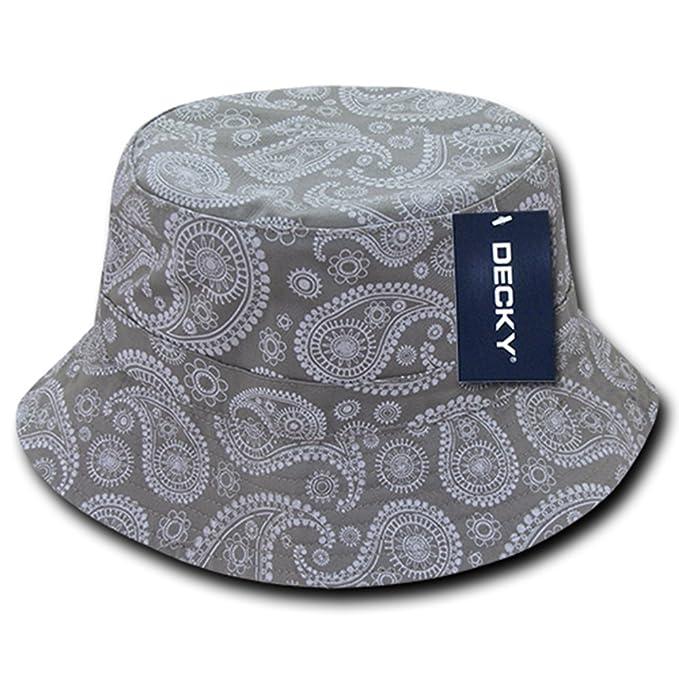 1dafaf40348 Paisley Bandana Print 100% Cotton Bucket Hat - GREY - L-XL  Amazon.in   Clothing   Accessories