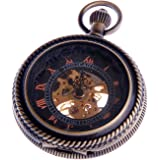 Skeleton Pocket Watch Chain Mechanical Hand Wind Half Hunter Vintage Antique Look - PW32