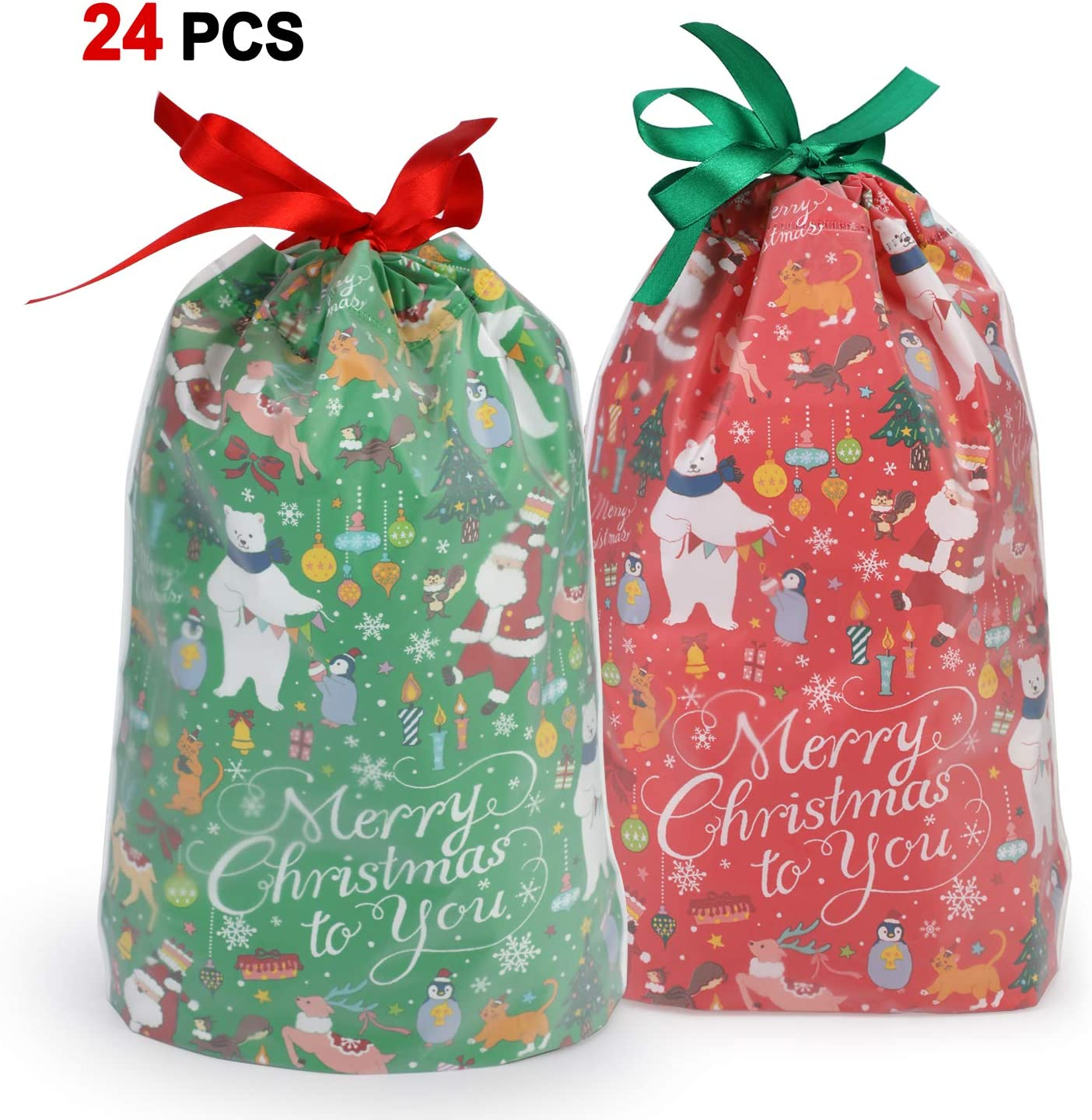 Konsait 24Count Christmas Party Bags, Christmas Drawstring Gift Bags, Christmas Goody Bags, Christmas Holiday Treats Bags Xmas Accessories Christmas Party Favors Supplies Candy Presents Gift Wrapping