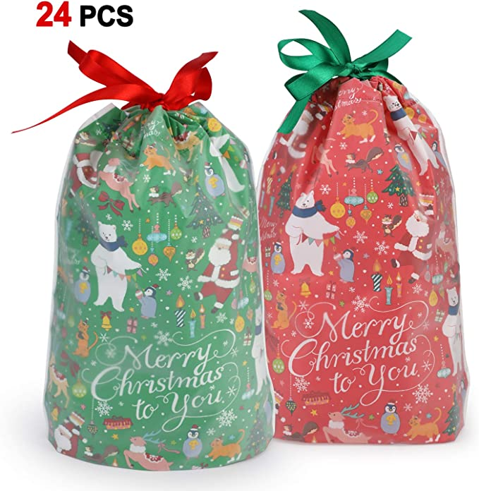 Large Batawas Christmas Gift Bags RPP00056A-1-PAR Pack of 5 Jewelry Carry Bag Potli Women Gift Assorted Colors Soft Lightweight Bag