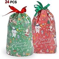 Howaf 24 Grande Navidad Bolsas Regalo con Cordón