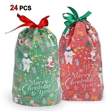 Howaf 24 Grande Navidad Bolsas Regalo con Cordón Navidad Fiestas cumpleaños Bolsas Regalo para Caramelos, Chocolate, Galletas, Calendario de adviento