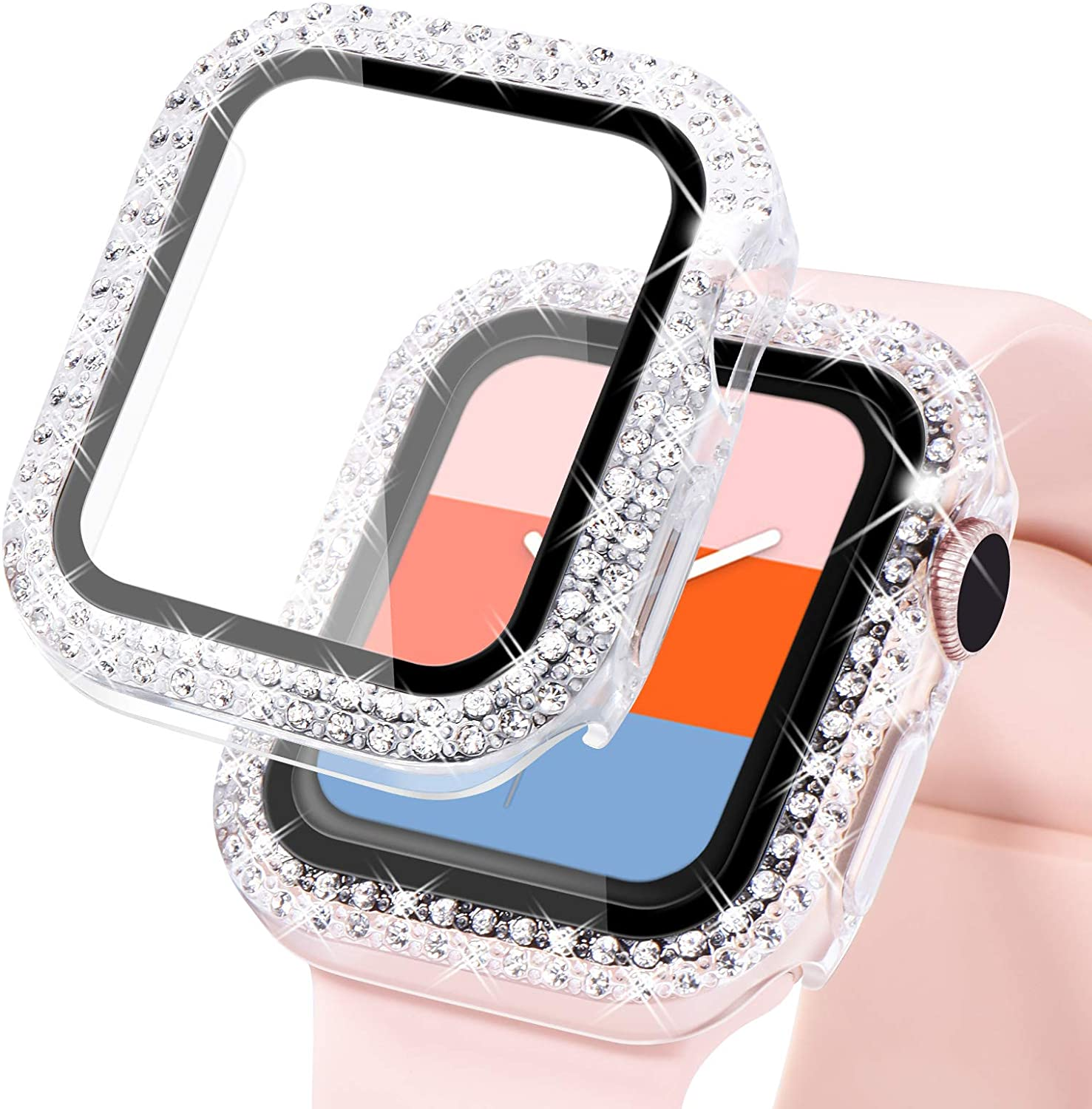 KADES Compatible for Bling Apple Watch Protective Case with Built-in Screen Protector for Apple Watch 38mm 40mm 42mm 44mm iWatch SE Series 6 5 4 3 2 1 (44mm, Clear)