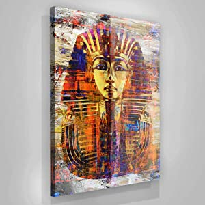 HOME DECORATIONS FOR LIVING ROOM WALL ,modern house decor ,King Tut Wall Art Canvas Print Pharaoh Mask Ancient Egypt Art Egyptian Prints Home Decor Pop Office Decor Egyptian Gift,12''x18'' Framed