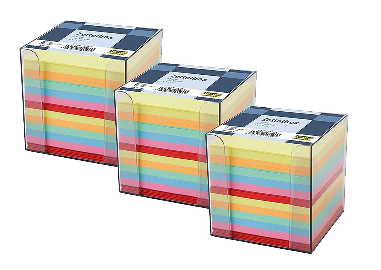 Idena 311068 9 x 9 x 10 cm 2x Zettelbox, farbig sortiert Zettelbox 700 Blatt