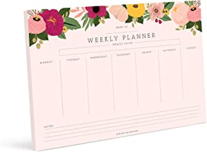 Bliss Collections Weekly Planner with 50 Undated Tear Off Sheets, 8.5x11 Blush Floral Calendar, Organizer, Scheduler, Productivity Tracker for Organizing Goals, Tasks, Ideas, Notes, to Do Lists