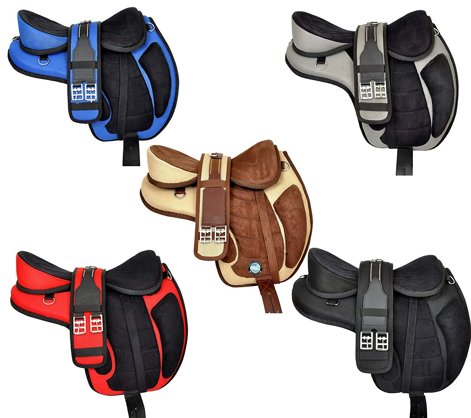 Manaal Enterprises Multicolored Synthetic Treeless FREEMAX English Horse Saddles Tack, Get Matching Girth, Leather Straps, Size 14' to 18' Inches Seat Available (16' Inches Seat, Black)