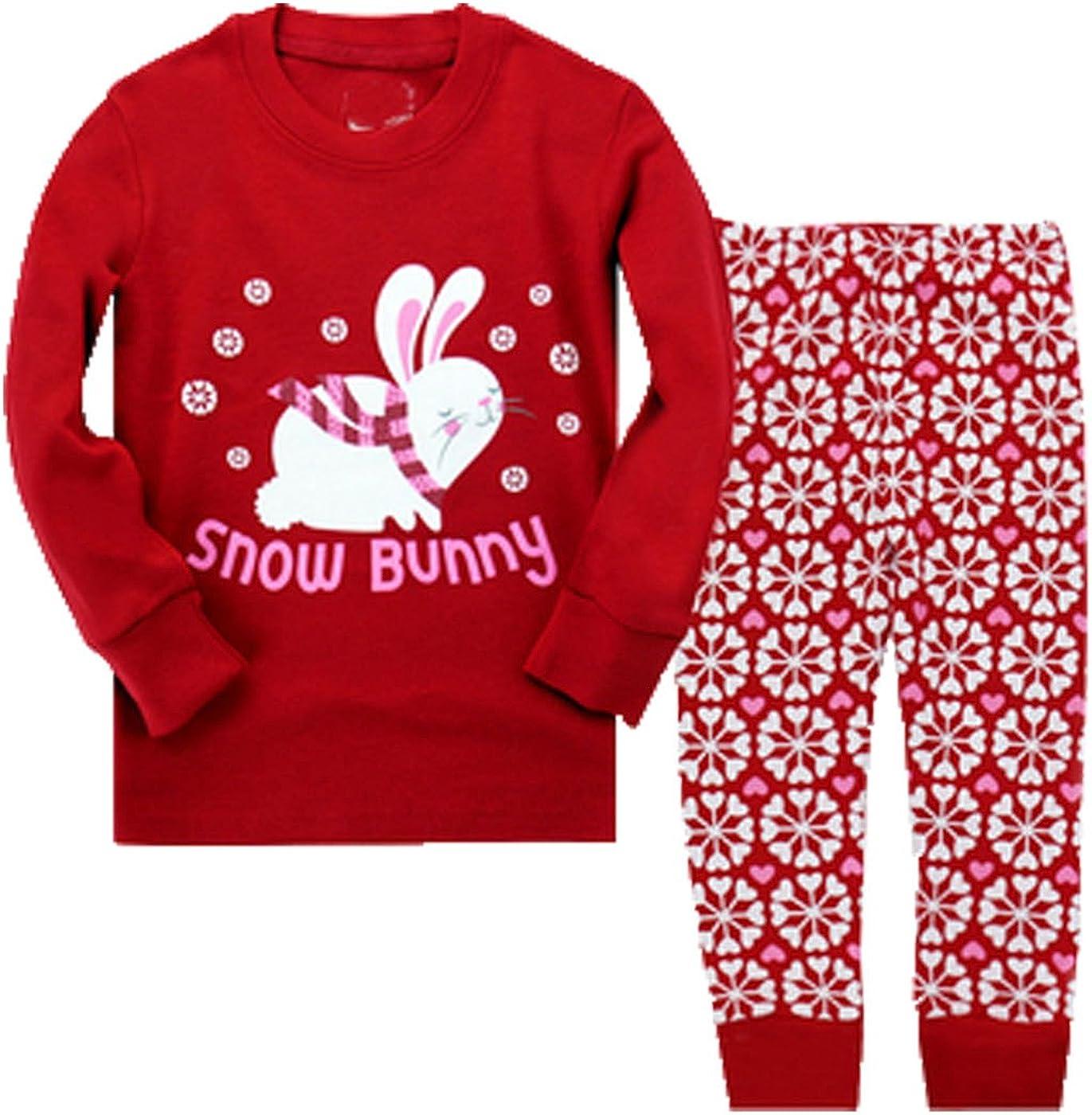 Mengmeng Little Girls Long Pajamas Sets Toddler PJS Cotton Kids Sleepwears
