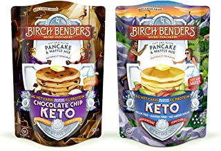 product image for Birch Benders Keto Pancake & Waffle Mix, Low-Carb, High Protein, Grain-free, Gluten-free, Keto-Friendly, Made with Almond, Coconut & Cassava Flour, 2 Pack Variety (Original & Choc Chip) 10oz each