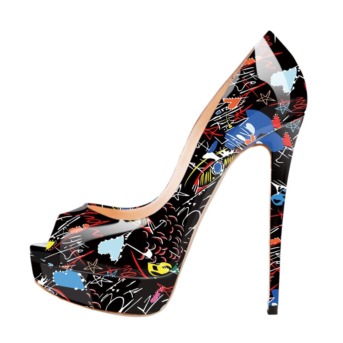 Onlymaker Damenschuhe High Heels Pumps Peep Toe Stiletto Plateau Absatz Lackleder  42 EU|Black Graffiti-peep toe