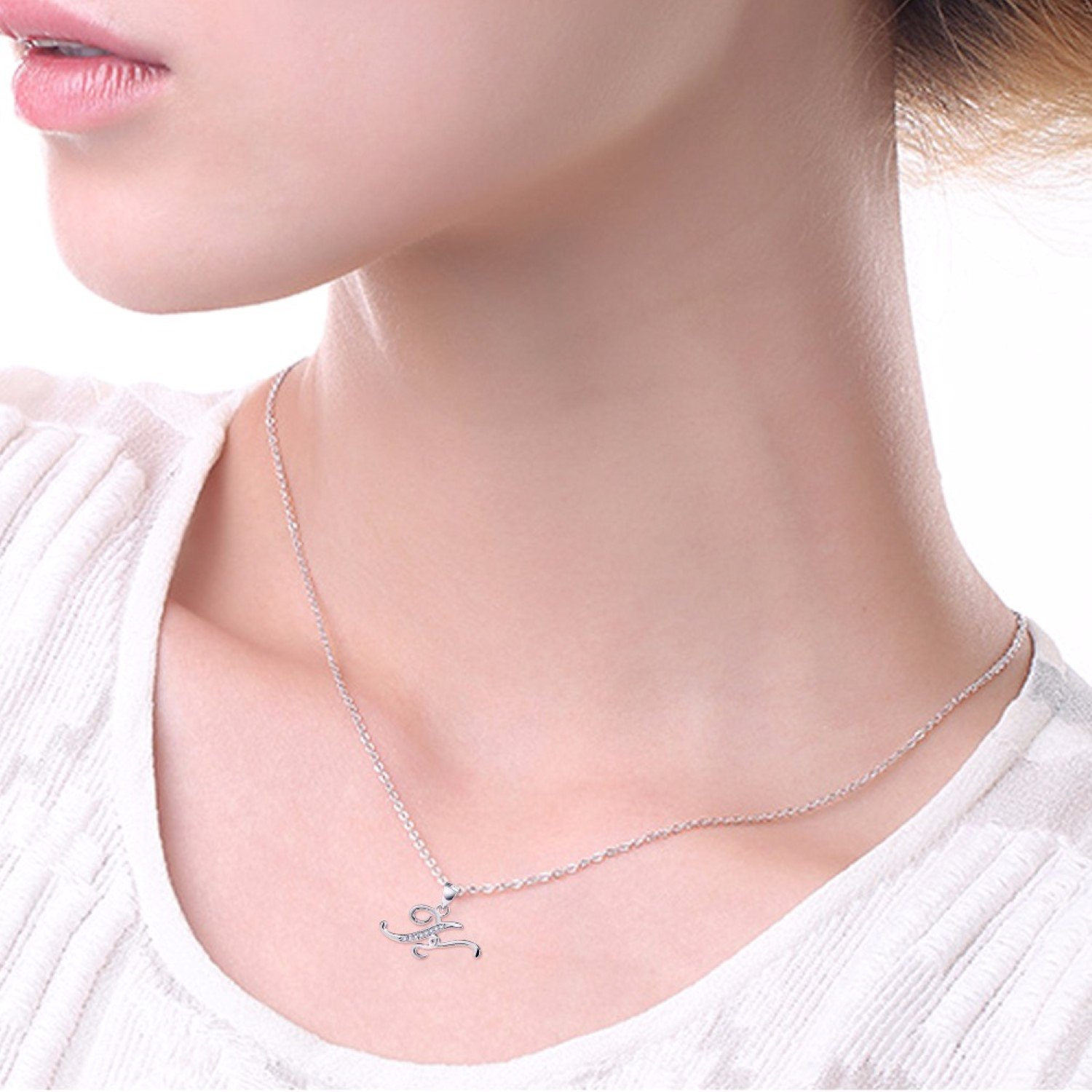 CS-DB Crystal Letter K Statement Top Stylish Silver Necklaces Pendants