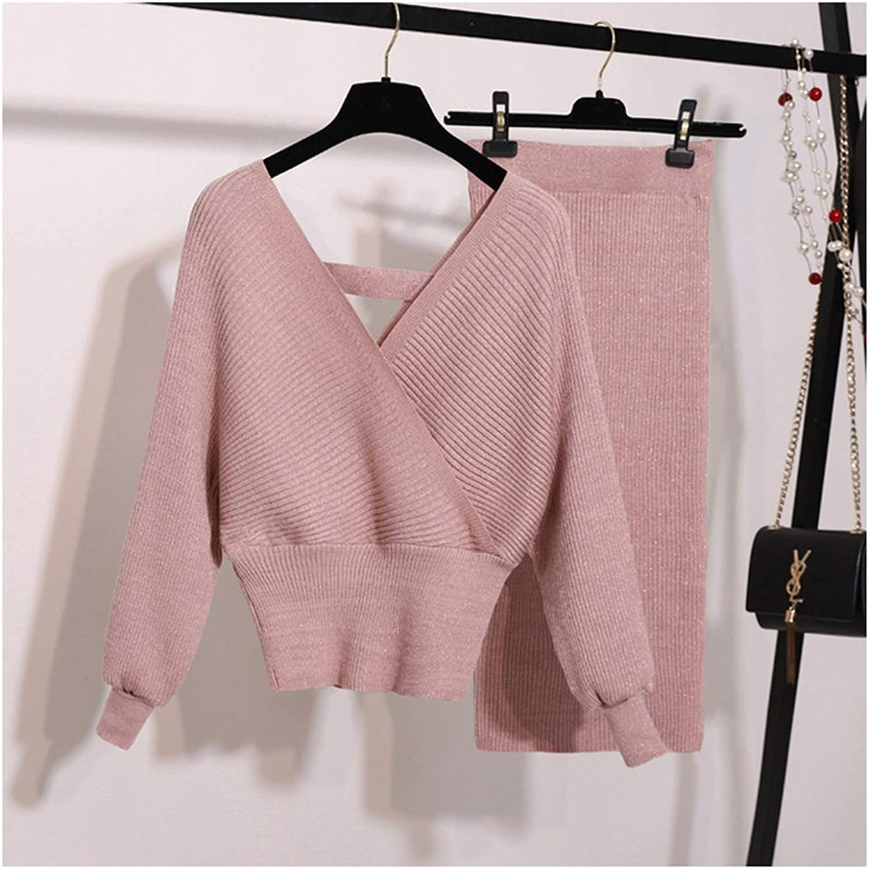 Bling Knitted 2 Piece Set Women Lantern Sleeve v Neck Sweater Elastic Waist Knitted Skirt Female Sweater Suit