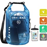 HEETA Waterproof Dry Bag for Women Men, 5L/ 10L/ 20L/ 30L Roll Top Lightweight Dry Storage Bag Backpack with Phone Case…