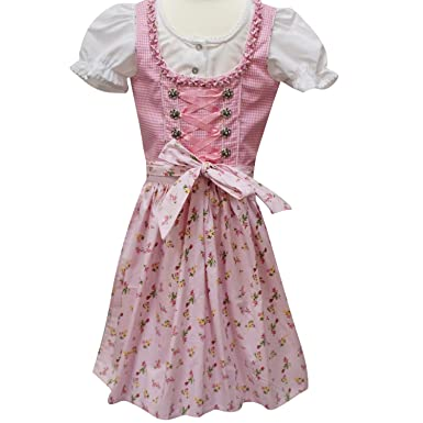 4c268b7a67b6e0 Lekra Dirndl Kinder 3-teilig rose/rose (116) Kleider: Amazon.de ...