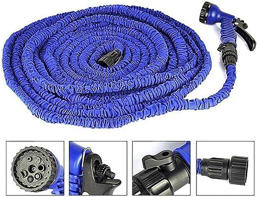 Manguera de Jardín Flexible y Extensible con 7 Modos de Riego 60m-Azul: Amazon.es: Jardín