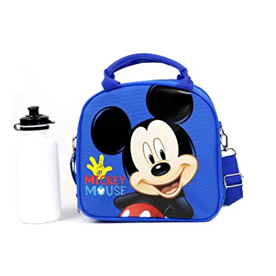 Disney Mickey Mouse Lunch Box Carry Bag with Shoulder Strap and Water Bottle: Kitchen & Dining