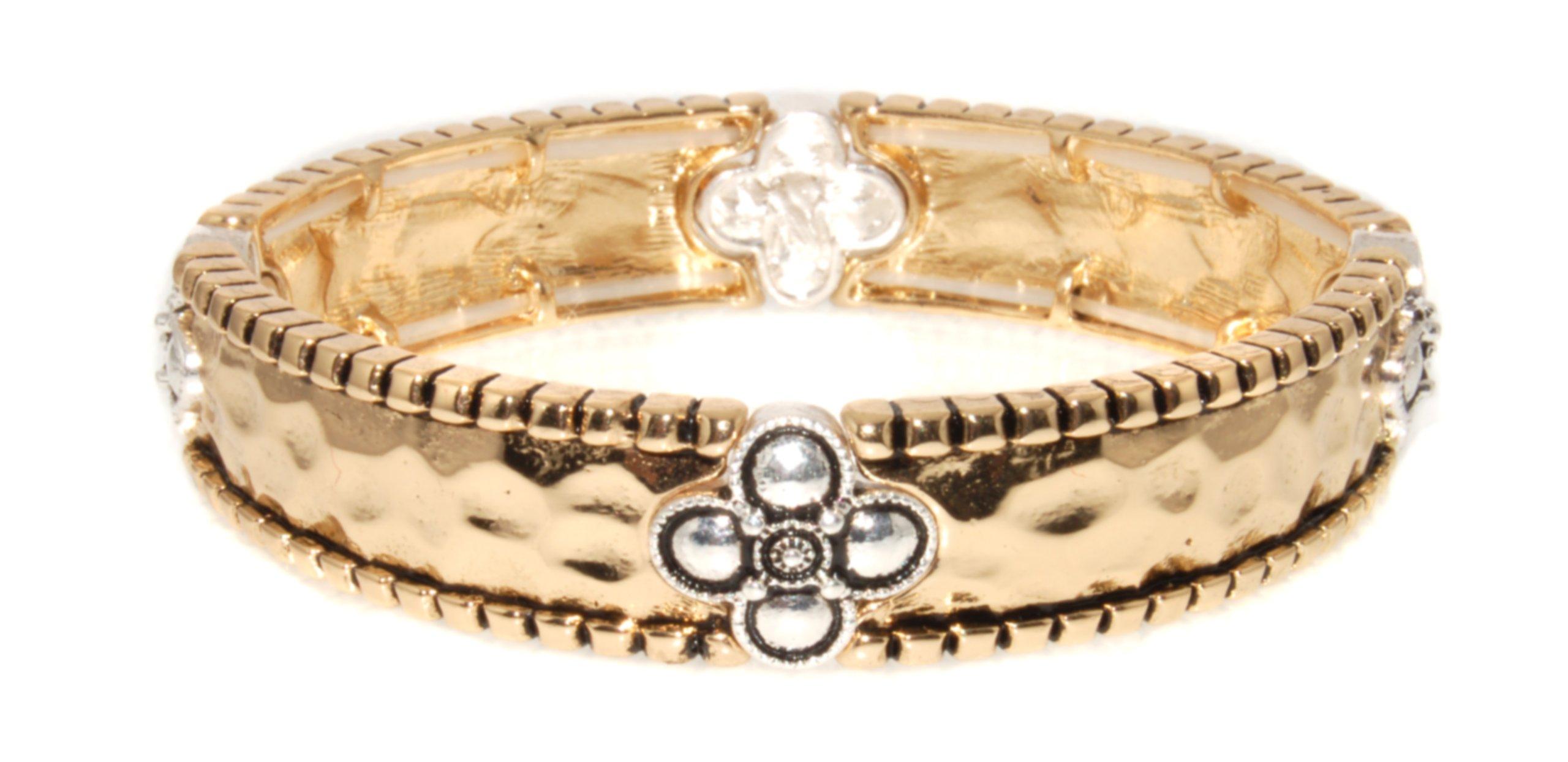 Landau Stretch Bracelet, Goldtone with Silvertone Clover Stations
