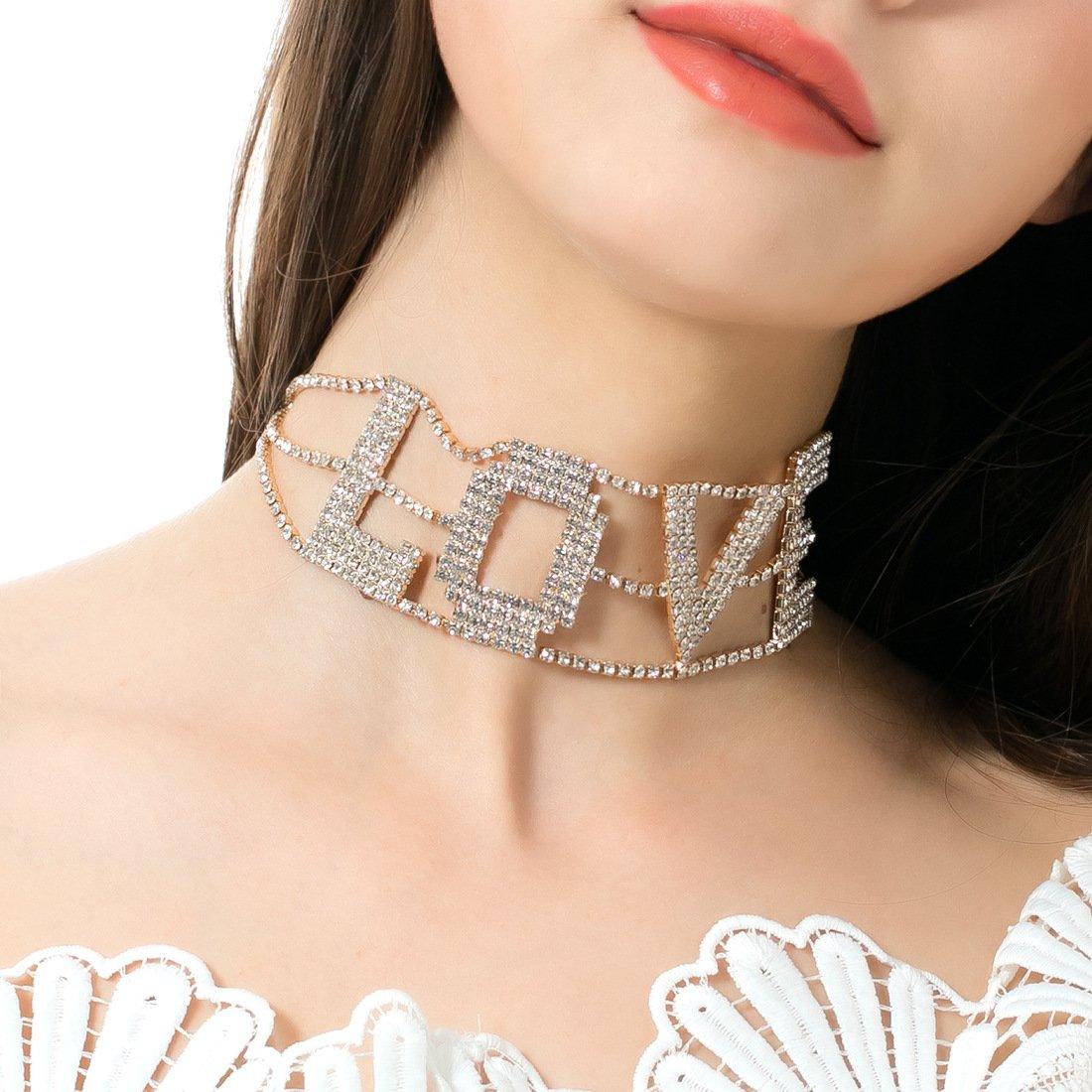 MengPa Rhinestone Choker Necklace for Women Fashion Letter Love Collar Wedding Jewelry Gold by MengPa (Image #3)