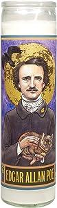 Edgar Allan Poe Secular Saint Candle - 8.5 Inch Glass Prayer Votive - Made in the USA